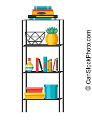 planken, boekjes , interieur, thuis, decor., vases.
