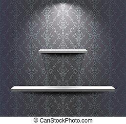 planken, in, de, grijze , kamer
