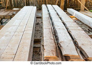planken, in, der, bauholz, fabrik