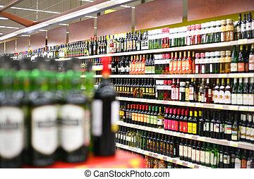 planken, met, wijnen, in, winkel