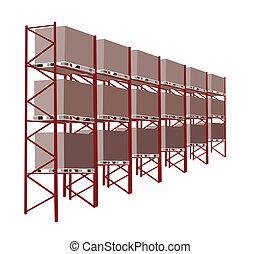 planken, productiewerk, opslag, in, een, magazijn, met,...
