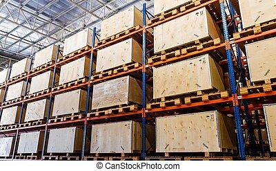 planken, productiewerk, opslag, in, een, magazijn