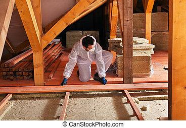 planking, colocar, -, instalación, termal, aislamiento