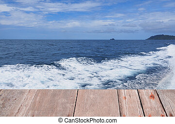Planks background blur sea