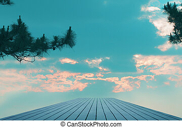 Planks sky backdrop black blur  Planks backdrop of blue sky