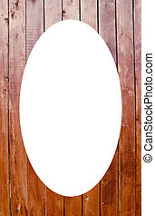 Planks wall background and white oval in center