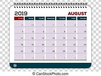 planläggare, augusti, mall, 2019., design, kalender