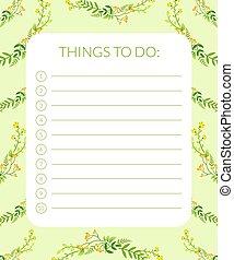planläggare, bagage, noteringen, illustration, etikett, vektor, grön, blomningen, baner, bladen, mall