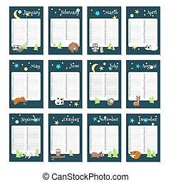 planläggare, djuren, sova, vektor, mall, kalender
