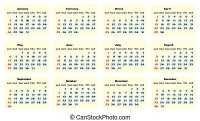 planläggare, enkel, vektor, design, 2018, mall, kalender