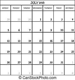 planläggare, månad, bakgrund, 2015, kalender, juli, ...