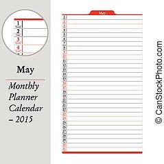 planläggare, maj, -, montly, 2015, kalender