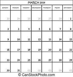 planläggare, mars, månad, bakgrund, 2014, kalender, ...