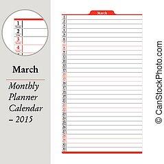 planläggare, mars, -, montly, 2015, kalender