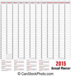 planläggare, schema, årlig, -, 2015, bord