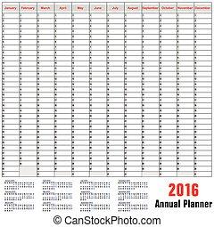planläggare, schema, årlig, -, bord, 2016