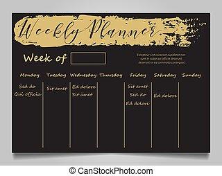 planläggare, svart, mall, guld, varje vecka