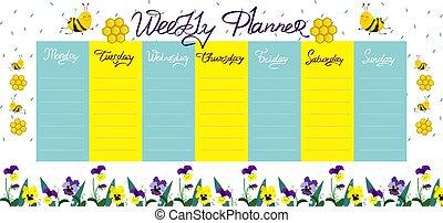 planläggare, varje vecka, bin, graphics., vektor, flowers.