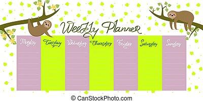 planläggare, varje vecka, graphics., sloths, leaves., vektor