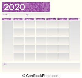 planläggare, vektor, grå, schema, vecka, purpur