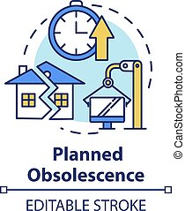 Planned obsolescence concept icon