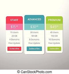 plannen, banner., hosting, verzameling, toepassingen, websites, tafel, prijzen