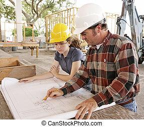 plannen, student, ingenieur, &, bespreken
