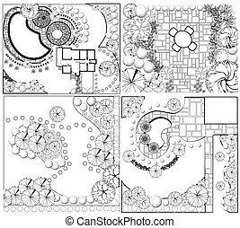 plannen, verzamelingen, landscape, od
