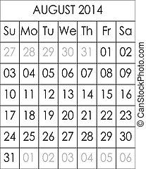 Planner Calendar August 2014  big eps file