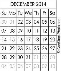 Planner Calendar December 2014  big eps file