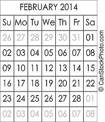 Planner Calendar February 2014  big eps file