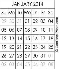 Planner Calendar January 2014  big eps file