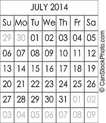 Planner Calendar July 2014  big eps file