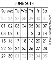 Planner Calendar June 2014  big eps file