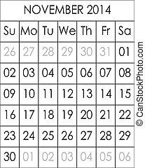 Planner Calendar November 2014  big eps file