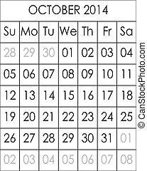 Planner Calendar October 2014  big eps file