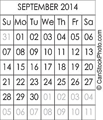 Planner Calendar September 2014  big eps file