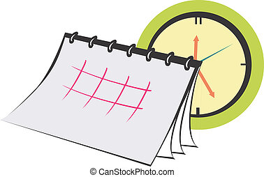 Planner - Illustration of clock and monthly planner calendar