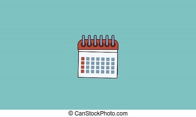 Planner isolated symbol HD animation - Calendar planner over...
