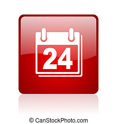 planner red square glossy web icon on white background