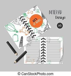 Planner template. Printables with tarvel elements. Eiffel tower design. Vector notebook