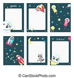 Planner vector template with cute space animals