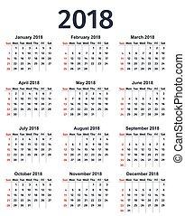 planner., year., vektor, 2018, mall, kalender