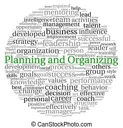 Planning and Organizing concept in word tag cloud on white...