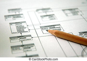 Photo showing pencil with a printout of a database schema (Shallow DOF)