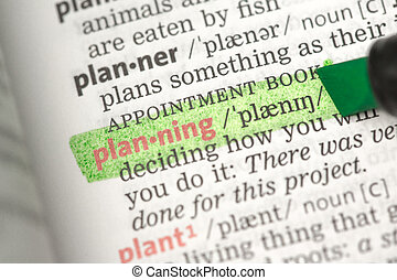 Planning definition highlighted in green