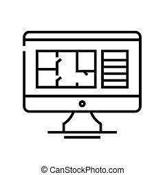 Planning flat line icon, concept sign, outline vector illustration, linear symbol.