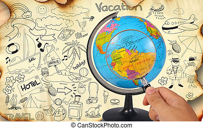 Photo image of a hand holding magnifying glass looking on earth globe, planning for vacation travel trip destination concept, on old grunge paper with travelling doodle illustration