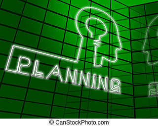 Planning Head Represents Goals Objectives 3d Illustration