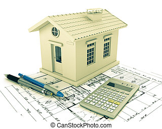 Planning home: blueprint, pencil and calculator. 3D ...